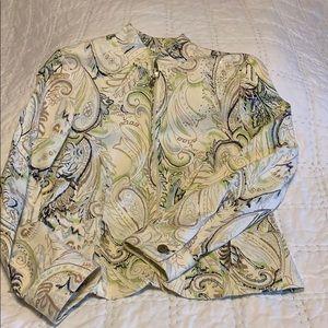 Peck & Peck paisley print jacket w/bling Size 8P